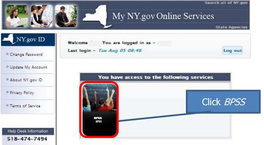 My NY.gov page for BPSS